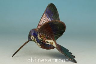 Chinese Old Cloisonne Handmade Painting Humming Bird Statue Noble Gift photo