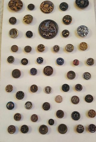 Antique Button Collector Card 50,  Designs,  Cherries,  Figural,  Metal,  Cut Steel photo