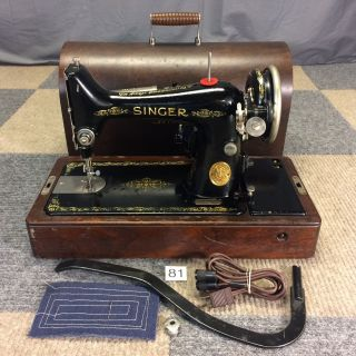 Serviced Vintage 1927 Singer 99 Heavy Duty Sewing Machine Bentwood Case Knee Bar photo