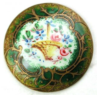 Antique Enamel Dome Button Colorful Flower Basket W/ Green Gold Border - 1