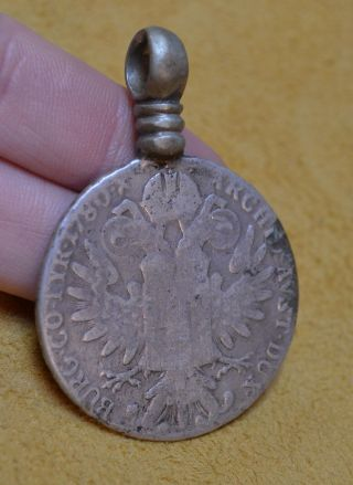 Antique Maria Theresa Thaler Silver Coin Medallion Tribal Ethiopian Pendant photo