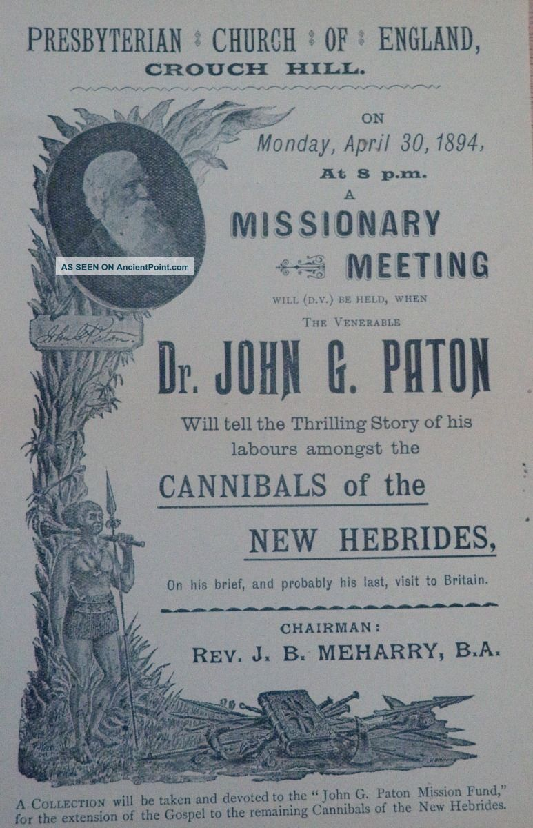 Hebrides Cannibalism Broadside John G.  Paton Missionary Work 1894 Pacific Islands & Oceania photo