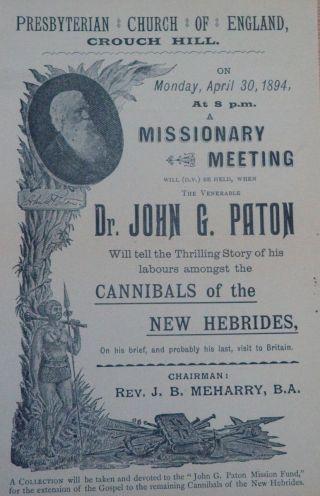 Hebrides Cannibalism Broadside John G.  Paton Missionary Work 1894 photo