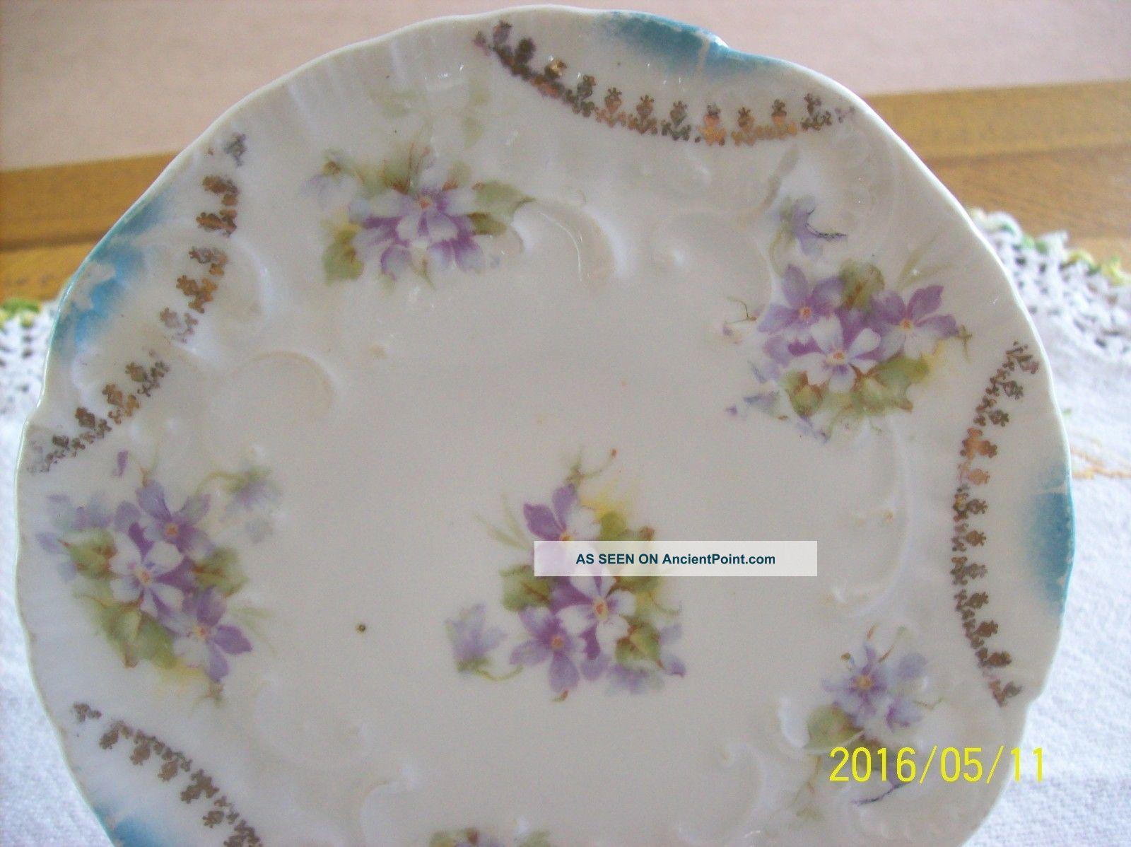 Victorian Antique Porcelain Trivet Violet Floral Pattern Hot Plate Trivets photo