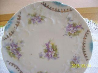 Victorian Antique Porcelain Trivet Violet Floral Pattern Hot Plate photo