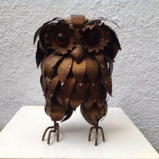 1970s Vintage Jere Style Metal Owl Sculpture Brutalist Mcm Orange Plastic Eyes photo