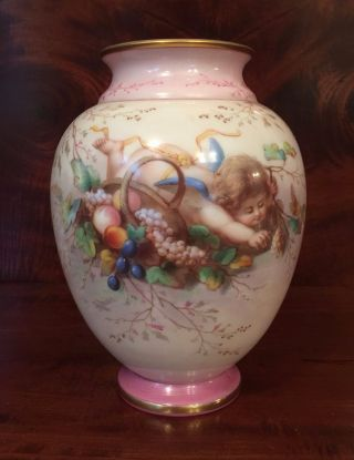 Artist Signed Ahne Satin Glass Vase Cherub Putti Cupid Victorian Art Nouveau photo