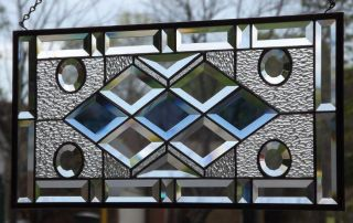 "•spot On •beveled Stained Glass Window Panel • 22 ½"" - 10 ½"" photo"
