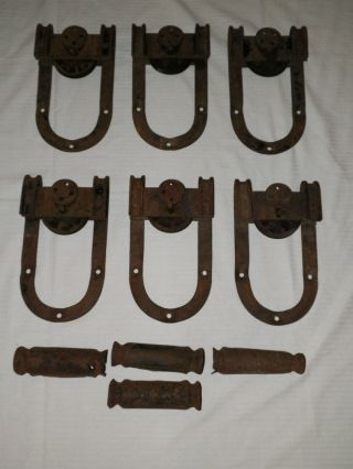 (6) Awesome Antique Barn Door Track Roller D Shape Horseshoe photo
