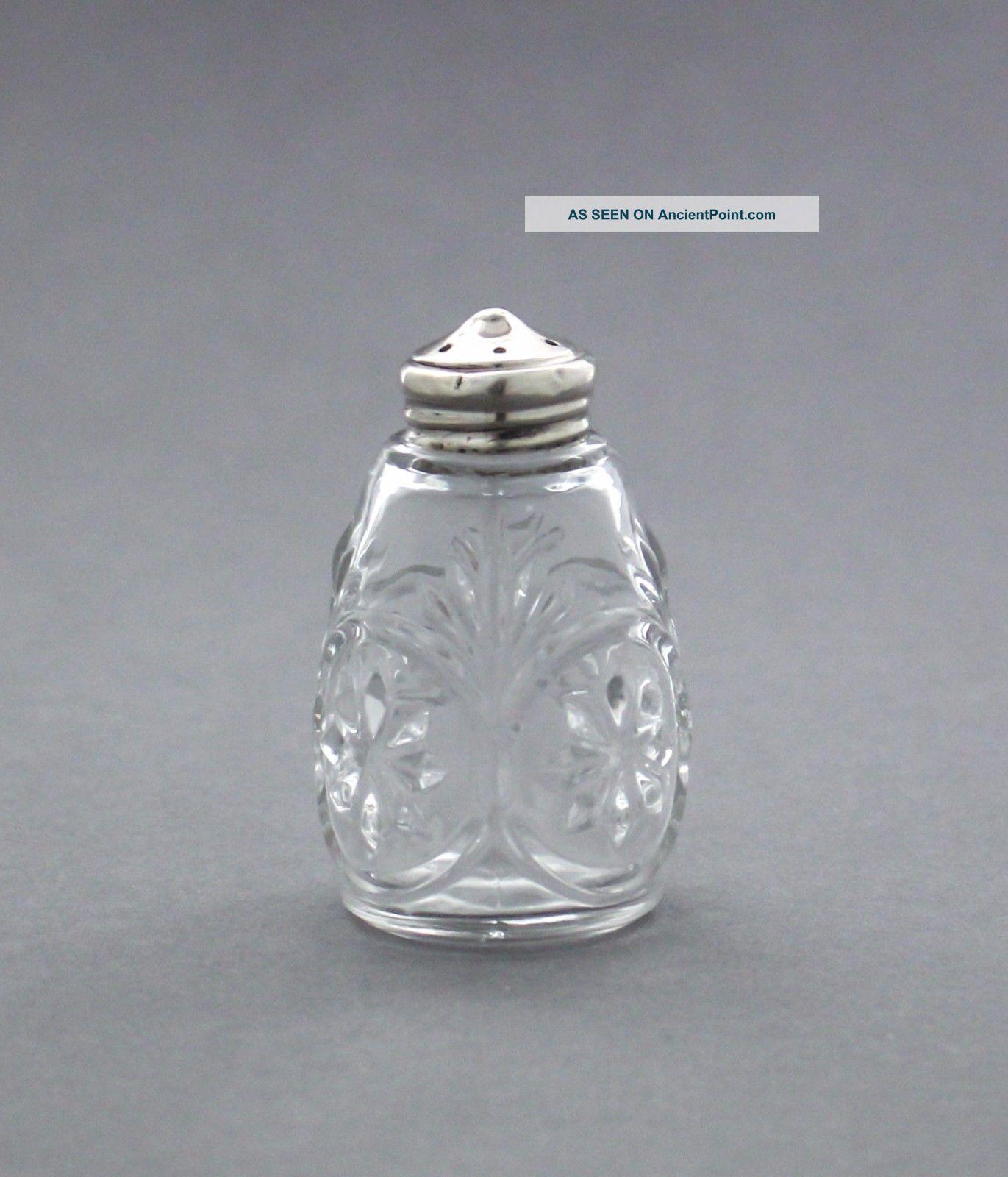 Vintage Pressed Glass Salt Pepper Shaker/pepperette Sterling Silver Top Salt & Pepper Shakers photo