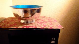 Lg.  Gorgeous Reed And Barton Silver Plate And Enamel Bowl,  9 In. , photo