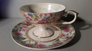 Vintage Lefton Tea Cup And Saucer Hand Painted Ne142r photo
