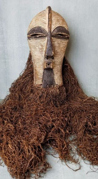 Museum Quality Antique Songye Kifwebe Mask With Very Long Raffia photo