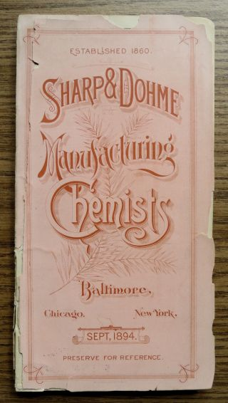Sharp & Dohme 1894 Pharmaceutical Price List - Baltimore photo