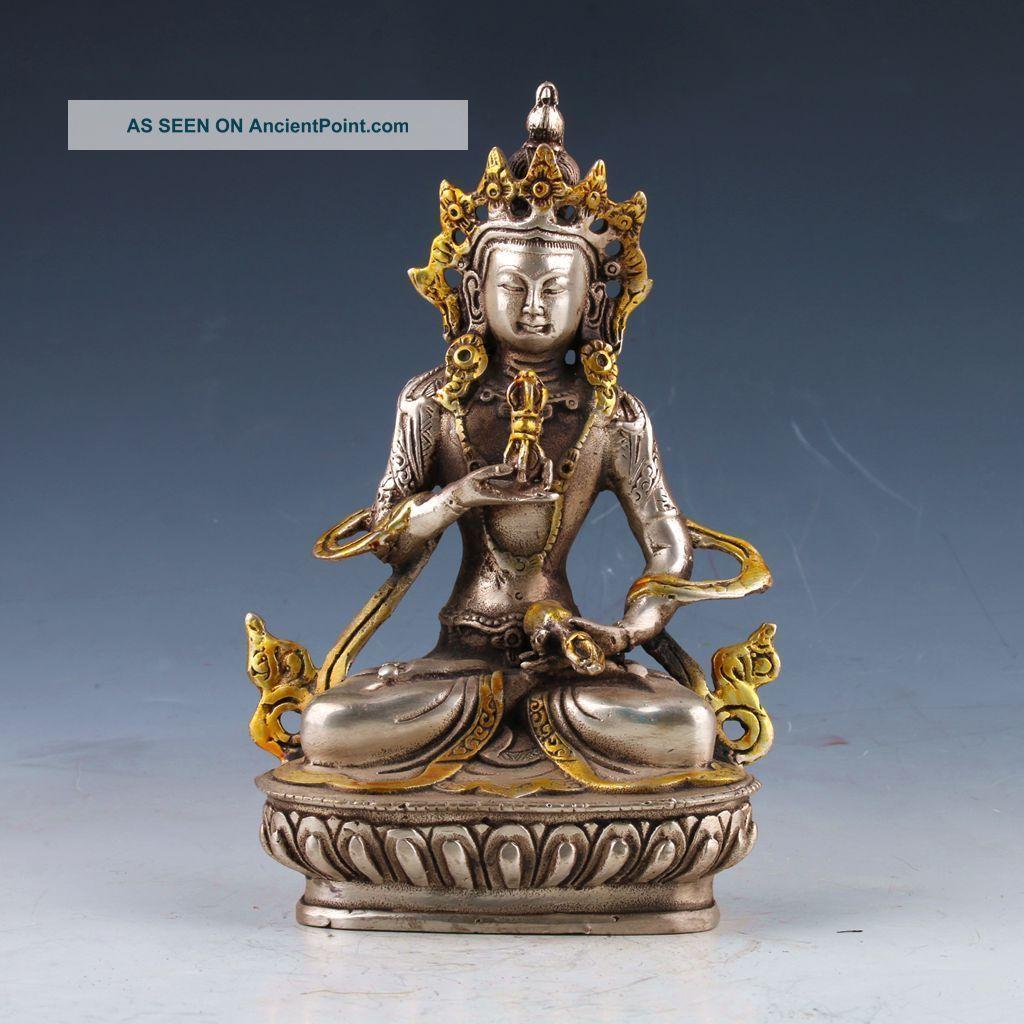 Old Tibet Silver Copper Gilt Hand - Painted Tibetan Buddhist Statue - - Vajrasattva Buddha photo