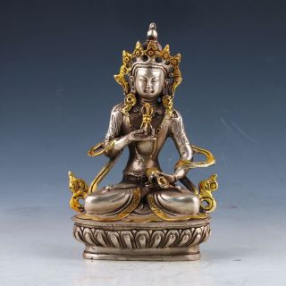 Old Tibet Silver Copper Gilt Hand - Painted Tibetan Buddhist Statue - - Vajrasattva photo