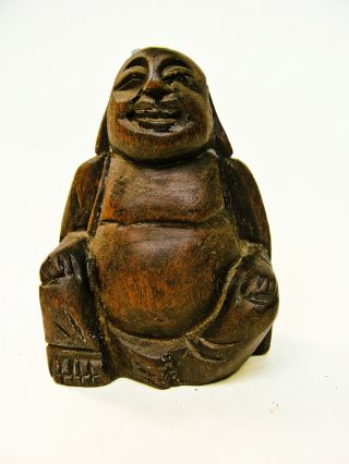 Vintage Small Seated Smiling Buddha Wood Carving Figurine Chinatown Souvenir photo