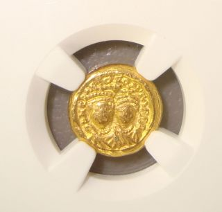 Ad 613 - 641 Heraclius & Her.  Constantine Ancient Byzantine Gold Solidus Ngc Vf photo