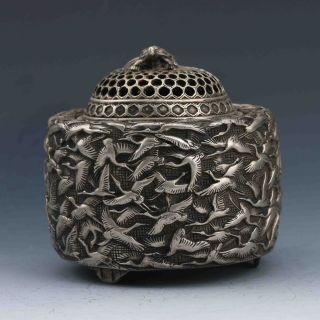 Collectible Chinese Silver Copper Handwork Bird Incense Burner photo