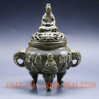 Chinese Vintage Handwork Incense Burner Goddess Of Mercy Emperor Qianlong Gd9899 photo