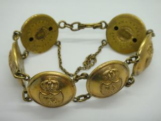 Antique Button M.  Petterson Stockholm Rare Military Sweden Swedish Bracelet 8