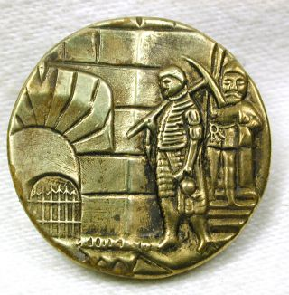 Rare Antique Brass Button Scene From