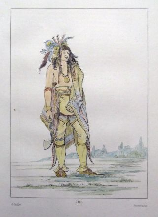 1842 G.  Catlin Handcol Engraving Native American Indians Iroquois Warrior photo