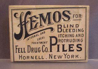 Hemos For Piles Internal Hemorrhoid Medicine Fell Drug Co.  Hornell,  Ny Box Only photo