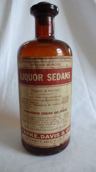 Antique Parke Davis Medicine Apothecary Bottle Liquor Sedans Uterine Sedative photo