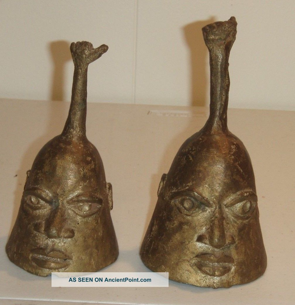 African Nigerian Bronze Handmade Bells Vintage Sculptures & Statues photo