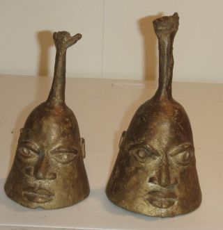 African Nigerian Bronze Handmade Bells Vintage photo