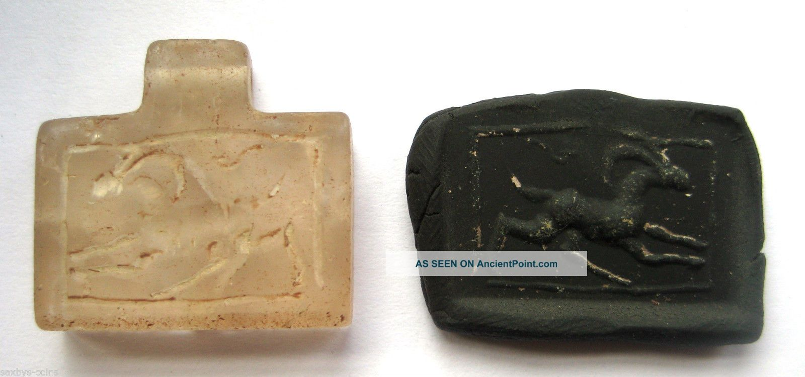 Circa.  400 A.  D Sassanian Empire Zoomorphic Rock Crystal Seal Pendant - Ibex Near Eastern photo