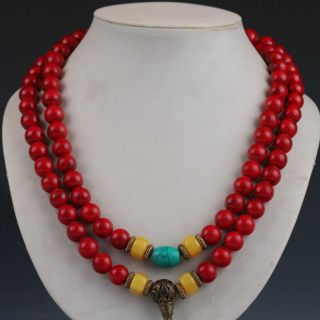 Chinese Collectibles Handwork Old Beeswax Toyed Prayer Bead Necklace photo