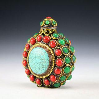 Tibetan Vintage Handwork Inlay Beads Snuff Bottle photo