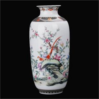Famille Rose Porcelain Hand - Painted Flower Bird Vase W Qianlong Mark C267 photo