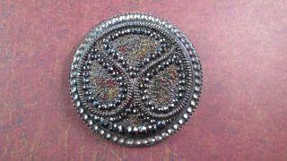 Lacy Black Glass Paisley Silver Luster C.  1880 ' S Converted To Brooch Pin Button photo