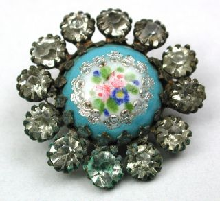 Antique Enamel Button Hand Paint Flowers & Foil W/ Paste Accent Border 3/4