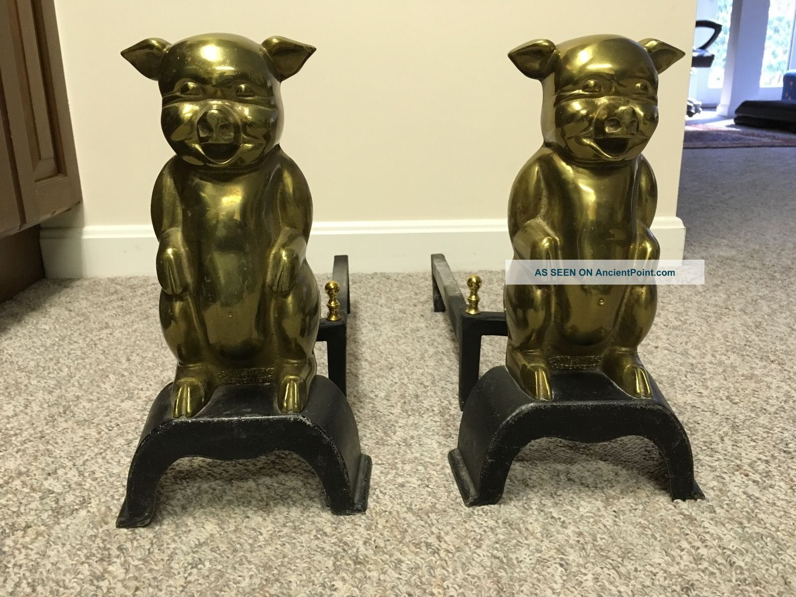 Vintage Brass Pig Andirons Copyright 1945 J.  Stephens Hearth Ware photo