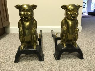Vintage Brass Pig Andirons Copyright 1945 J.  Stephens photo