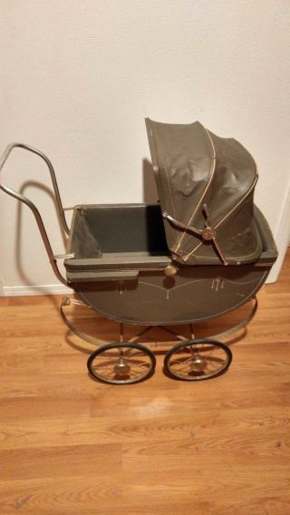 Vintage Mid - Century Baby Infant Carriage Buggy Stroller Pram Rare photo