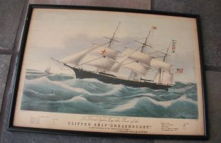 Antique Clipper Ship Dreadnought Framed Art N.  Currier