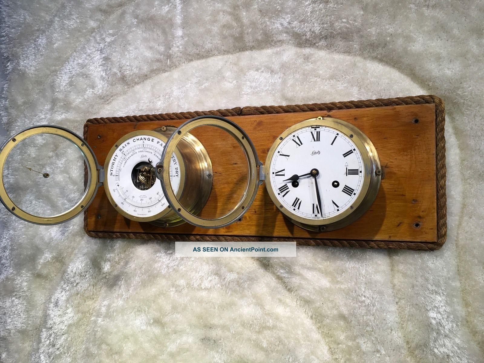 Large Vintage Brass Germany Schatz Ship Bell Clock &barometer On Wooden Case Clocks photo