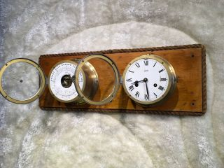 Large Vintage Brass Germany Schatz Ship Bell Clock &barometer On Wooden Case photo
