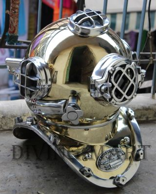 Vintage Brass & Aluminium U.  S Navy Mark V Diving Divers Helmet Full Size photo