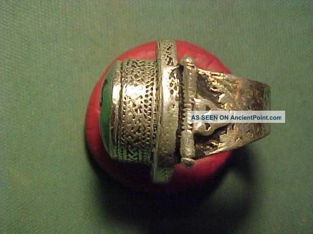 Near Eastern Hand Crafted Intaglio Ring Malachite (ibex) Circa 1700 - 1900 Near Eastern photo