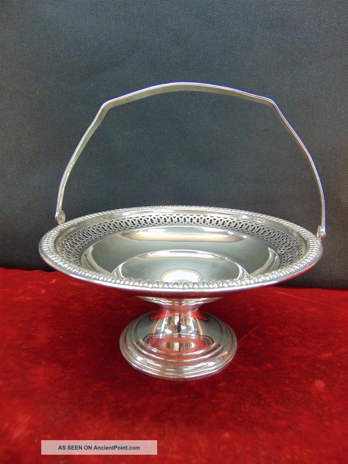 Rogers Sterling Silver 95 A Weighted Pierced Basket Handled Pedestal Compote Baskets photo