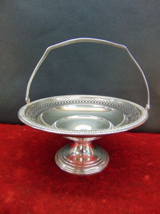 Rogers Sterling Silver 95 A Weighted Pierced Basket Handled Pedestal Compote photo
