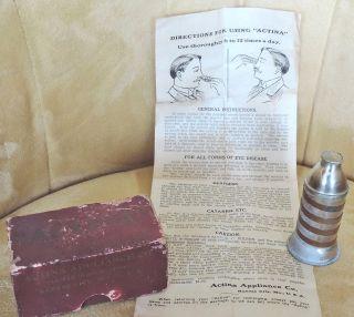Actina Appliance - Antique Quack Medicine Device W Box & Instructions photo