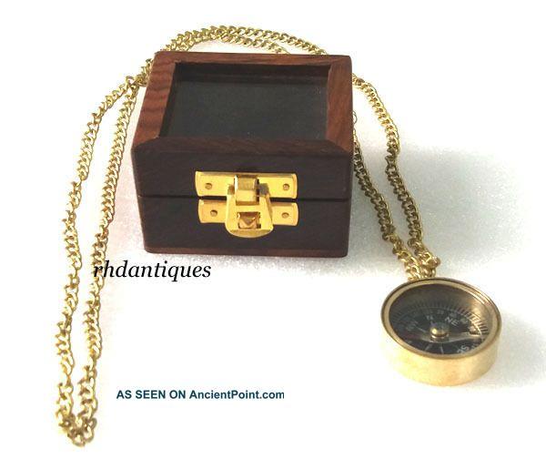 Nautical Collectible Vintage Brass Necklace Compass,  Nautical Replica Compasses photo