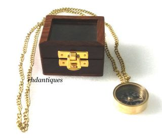 Nautical Collectible Vintage Brass Necklace Compass,  Nautical Replica photo